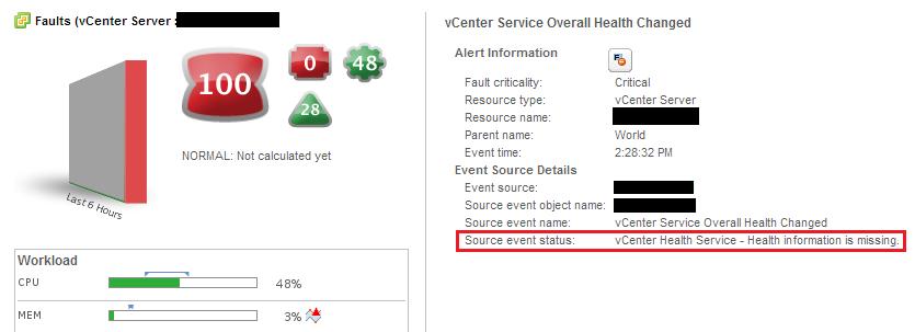 vCOps health error